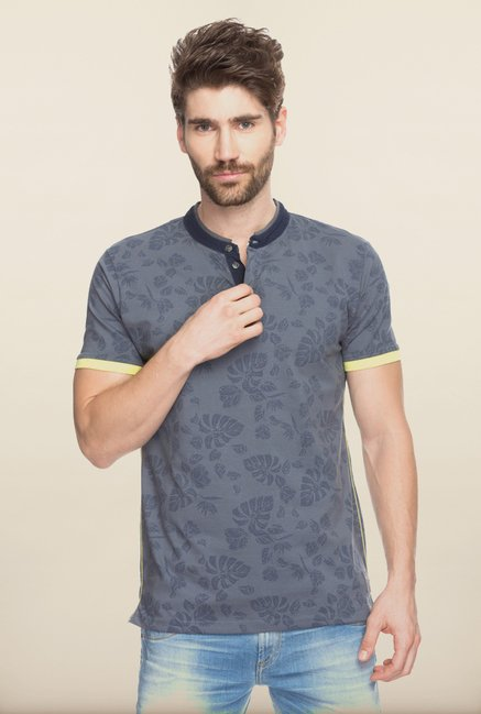 Spykar Grey Cotton printed T shirt