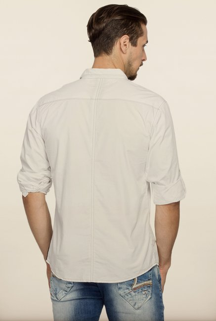 Spykar White Printed Regular Fit Casual Shirt
