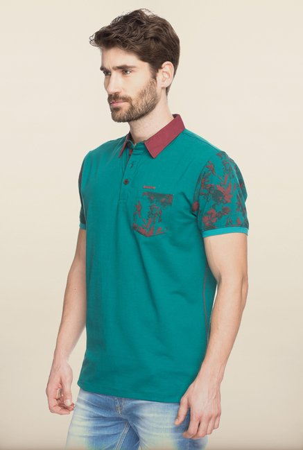 Spykar Green Polo Slim Fit T shirt