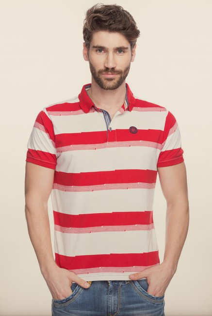 Spykar Red & White Polo T shirt