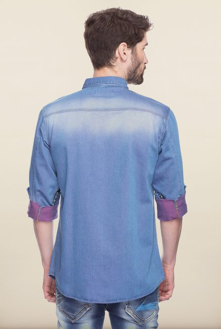 Spykar Blue Shaded Casual Shirt