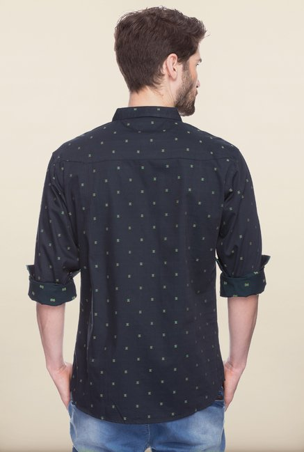 Spykar Black Printed Regular Fit Casual Shirt