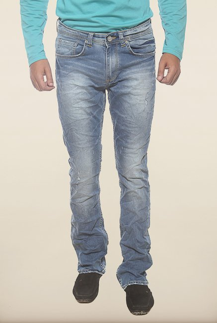 Spykar Blue Destressed Slim Fit Jeans