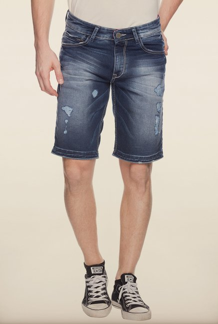 Spykar Blue Washed Denim Shorts