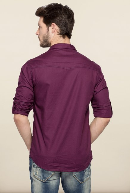 Spykar Purple Solid Casual Shirt