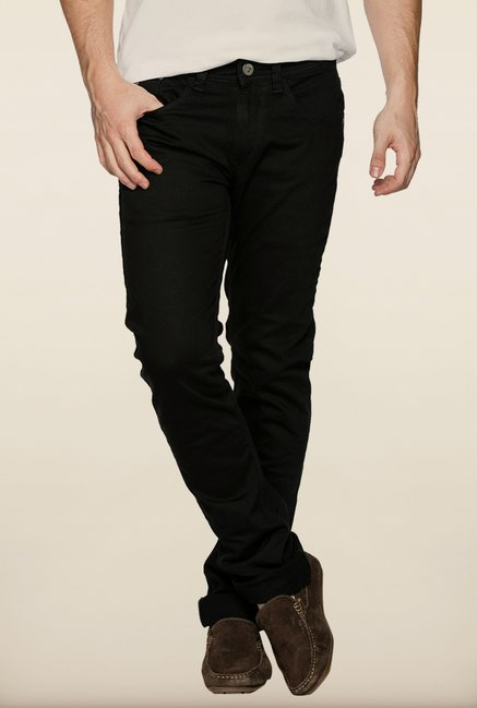 Spykar Black Washed Slim Fit Jeans