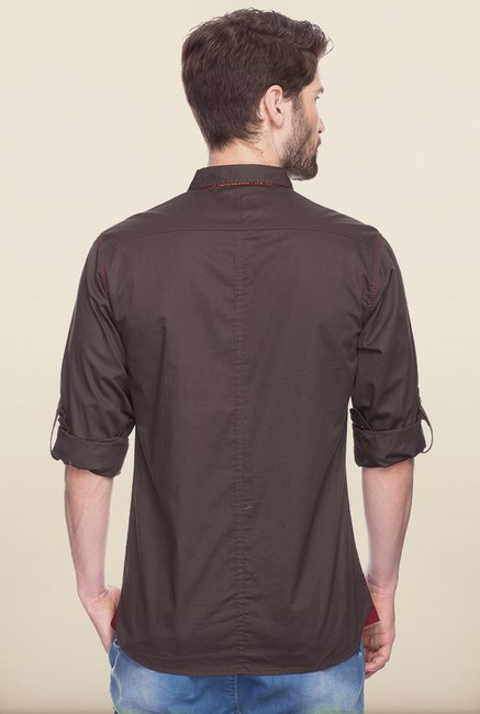 Spykar Brown Solid Casual Shirt