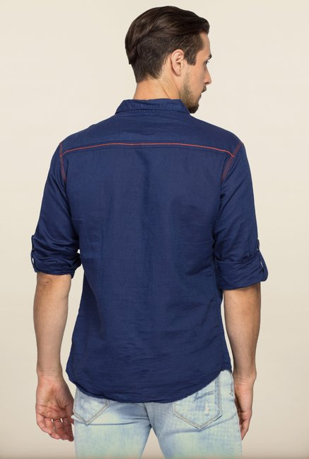Spykar Navy Regular Fit Shirt