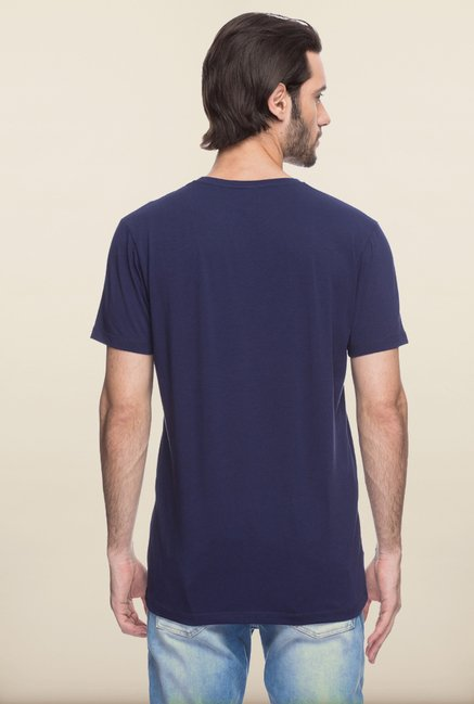 Spykar Navy Printed T shirt