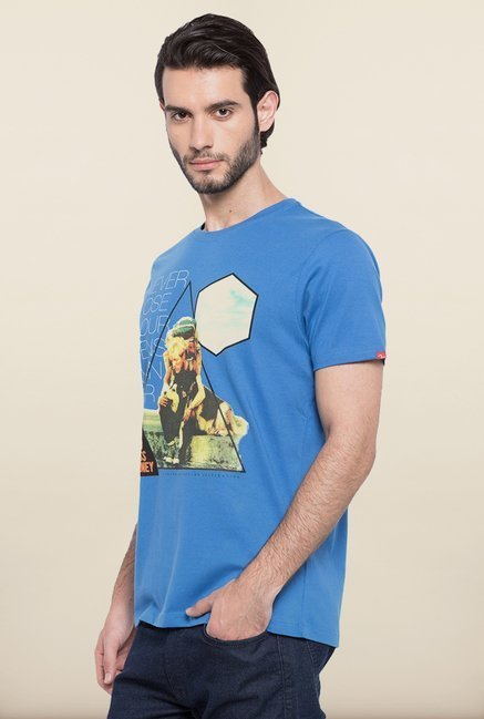 Spykar Blue Slim Fit T shirt