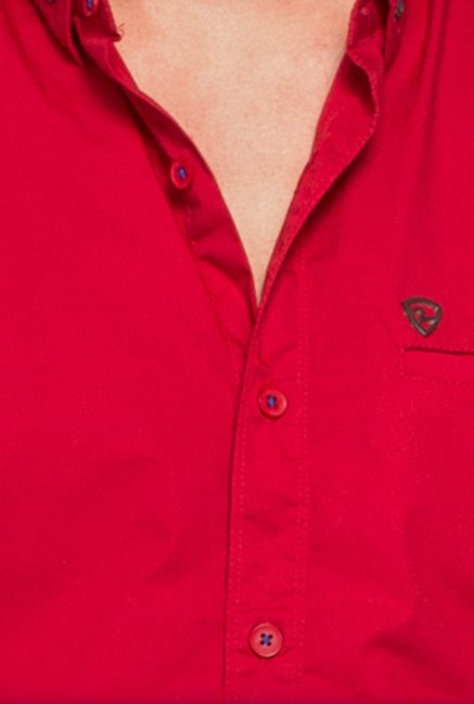 Spykar Red Solid Casual Shirt