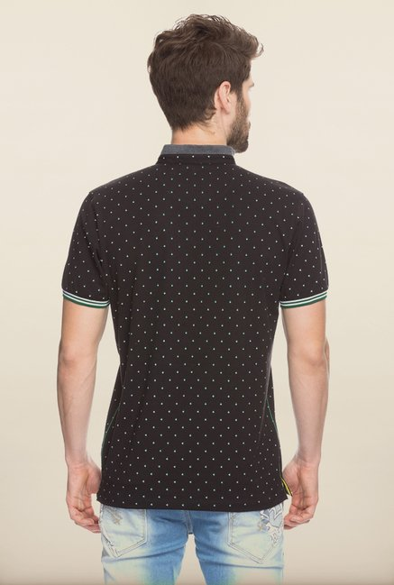 Spykar Black Printed Slim Fit T shirt
