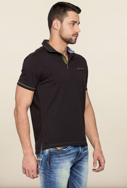 Spykar Black Polo T shirt