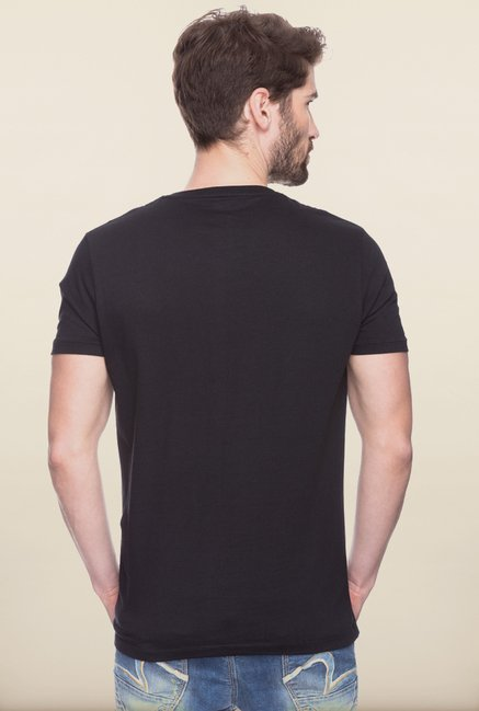 Spykar Black Slim fit Printed T shirt