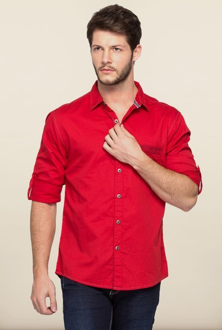 Spykar Red Cotton Shirt