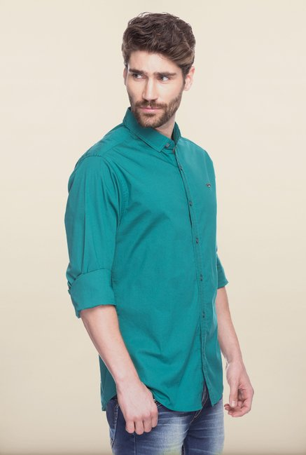 Spykar Teal Solid Casual Shirt
