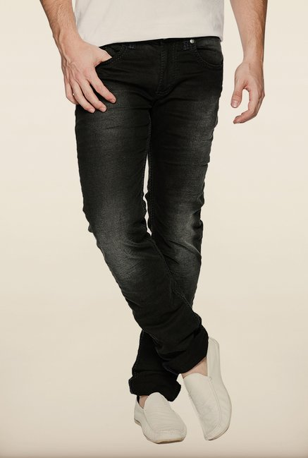 Spykar Black Washed Skinny Fit Jeans