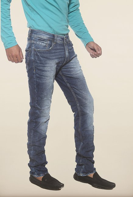 Spykar Blue Washed Low Rise Slim Fit Jeans