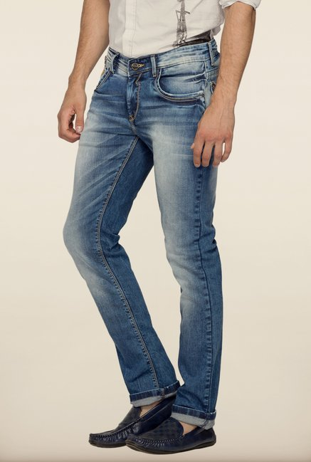 Spykar Blue Washed Skinny Fit Denim Jeans