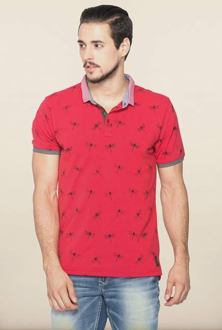 Spykar Red Slim Fit Polo T shirt