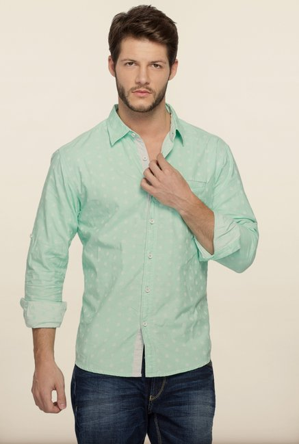 Spykar Green Printed Casual Shirt