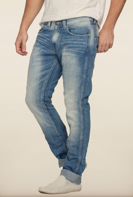 Spykar Blue Low Rise Slim Fit Denim Jeans