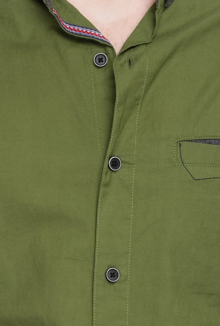 Spykar Olive Solid Casual Shirt