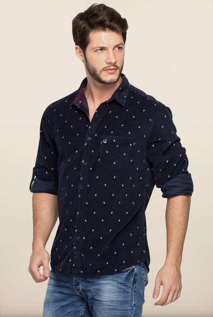 Spykar Navy Printed Regular Fit Shirt