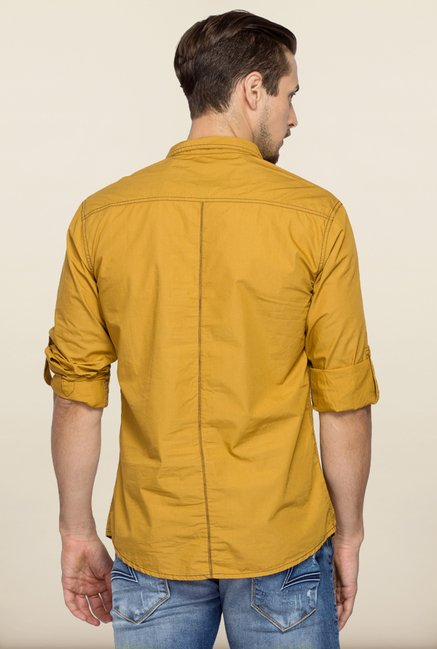 Spykar Khaki Solid Cotton Shirt