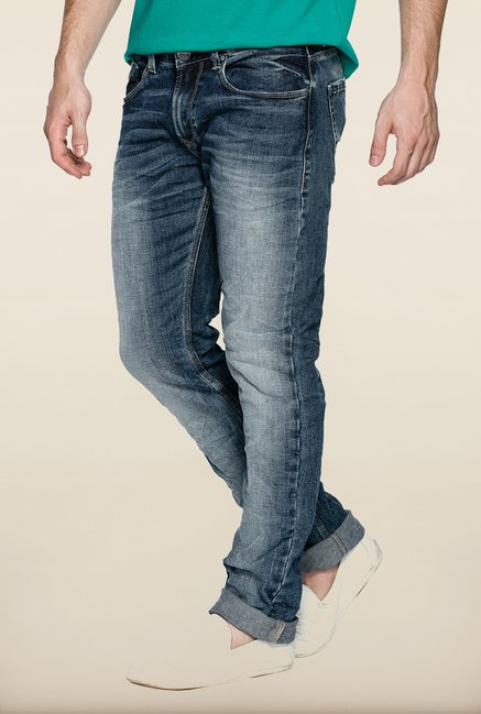 Spykar Blue Washed Low Rise Skinny Fit Denim Jeans