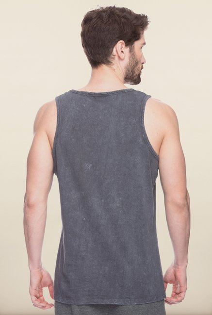 Spykar Grey Slim Fit Printed Vest