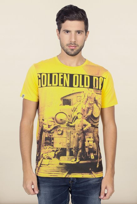 Spykar Yellow Slim Fit T shirt