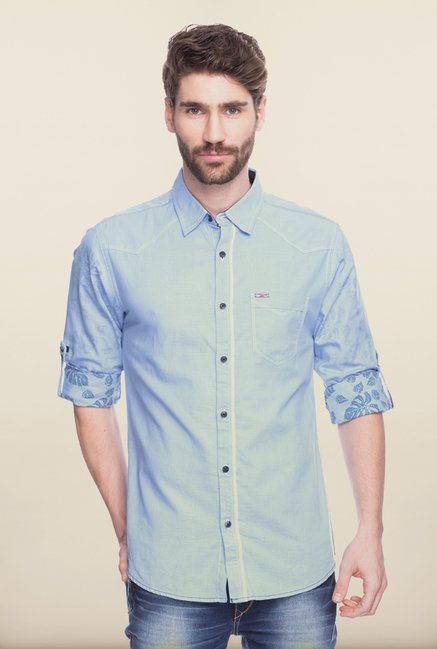 Spykar Light Blue Cotton Shirt