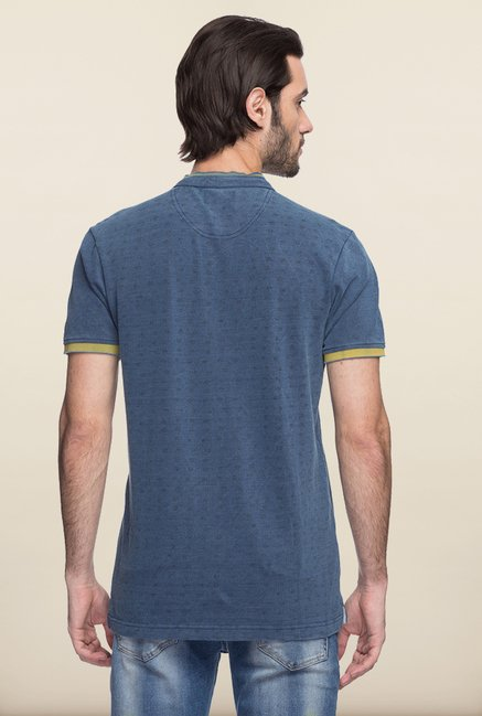 Spykar Indigo Solid Slim Fit T shirt