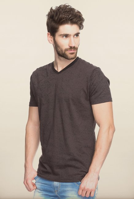 Spykar Brown Printed T shirt
