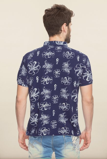 Spykar Navy Printed Slim Fit T shirt