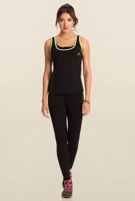 Pretty Secrets Black Solid Workout Tank