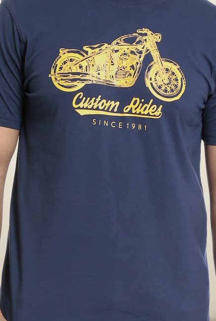 Seven Navy Printed T-Shirt