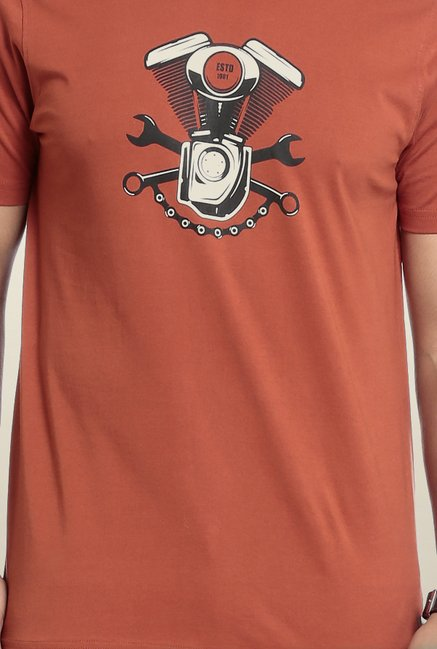 Seven Brown Printed T-Shirt