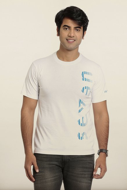 Seven White Cotton Printed T-Shirt
