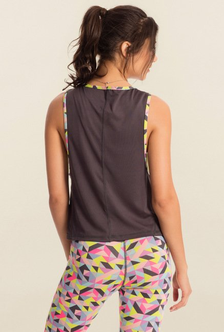 Pretty Secrets Grey Solid Workout Tank