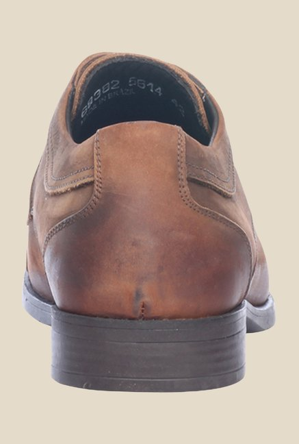 Pavers England Tan Leather Derby Shoes