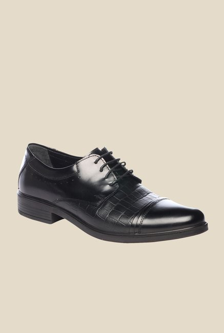 Pavers England Black Leather Formal Shoes