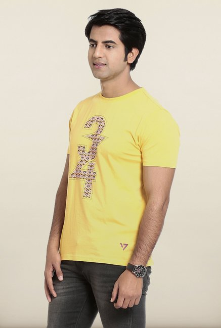 Seven Yellow Printed T-Shirt