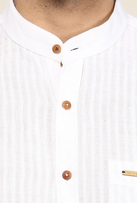 Turtle Khadi White Striped Casual Shirt