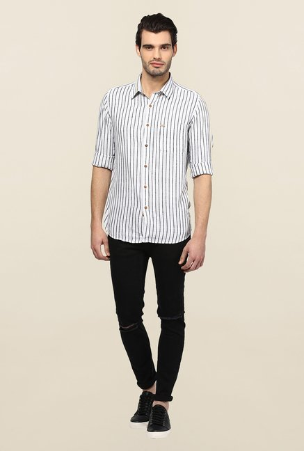Turtle White Striped Casual Shirt
