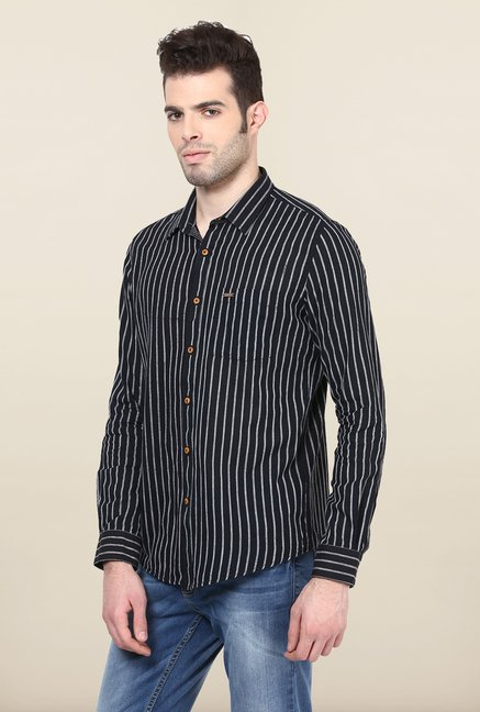 Turtle Black Striped Khadi Casual Shirt