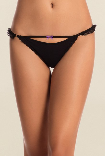 Pretty Secrets Purple & Black Thongs (Pack of 2)