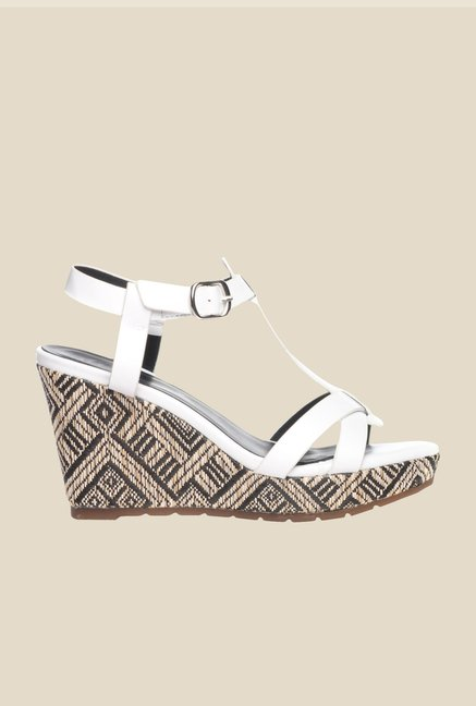 Pavers England White Ankle Strap Wedges