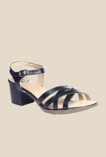 Pavers England Black Ankle Strap Sandals